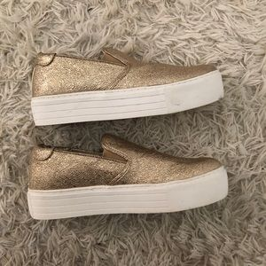 Kenneth Cole Platform Gold Sneakers
